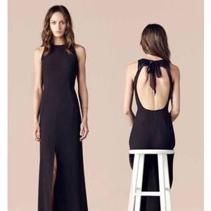 L'Agence Black Leather-trim Open-back Maxi Dress